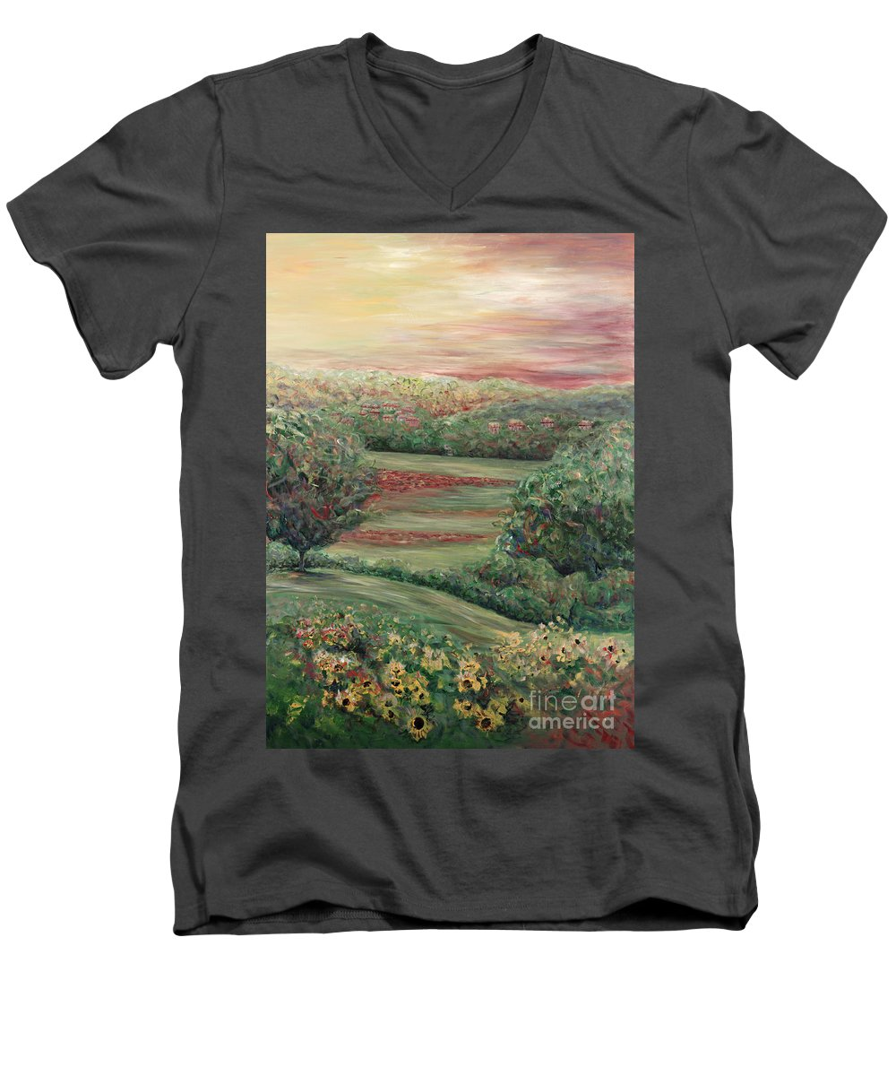 Landscape Men's V-Neck T-Shirt featuring the painting Summer In Tuscany by Nadine Rippelmeyer