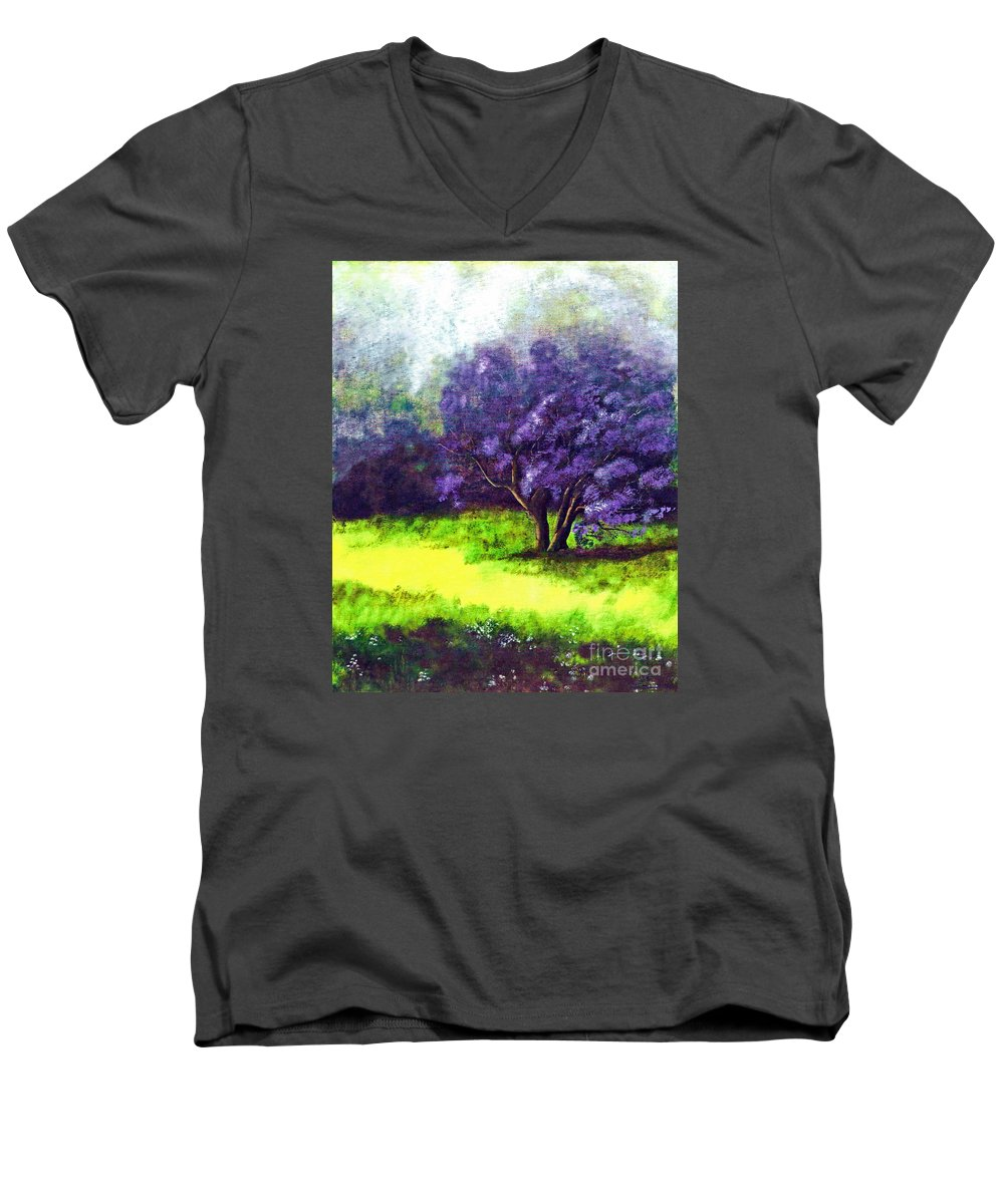 Fine Art Print Men's V-Neck T-Shirt featuring the painting Summer Mist by Patricia Griffin Brett
