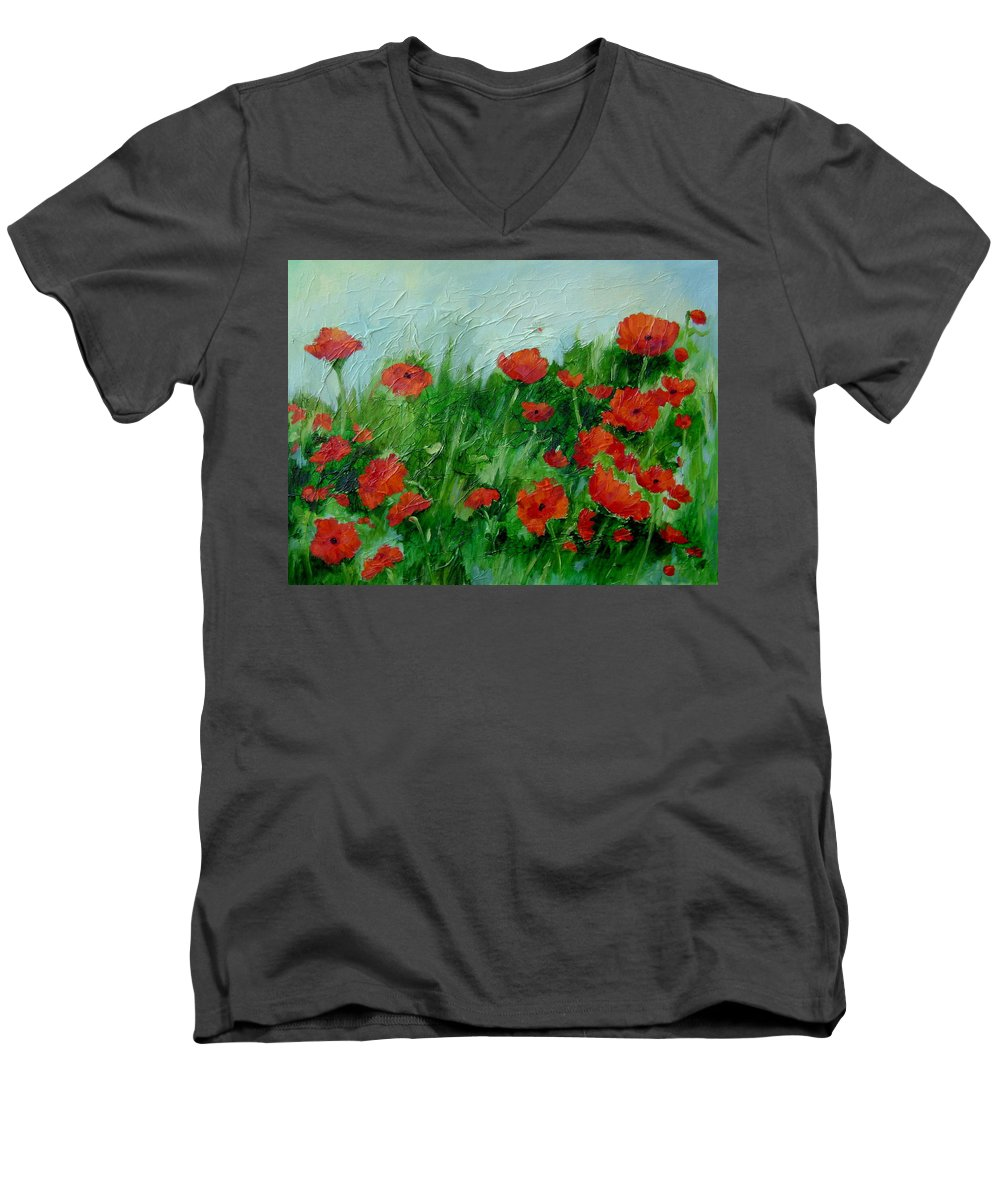 Red Poppies Men's V-Neck T-Shirt featuring the painting Summer Poppies by Ginger Concepcion