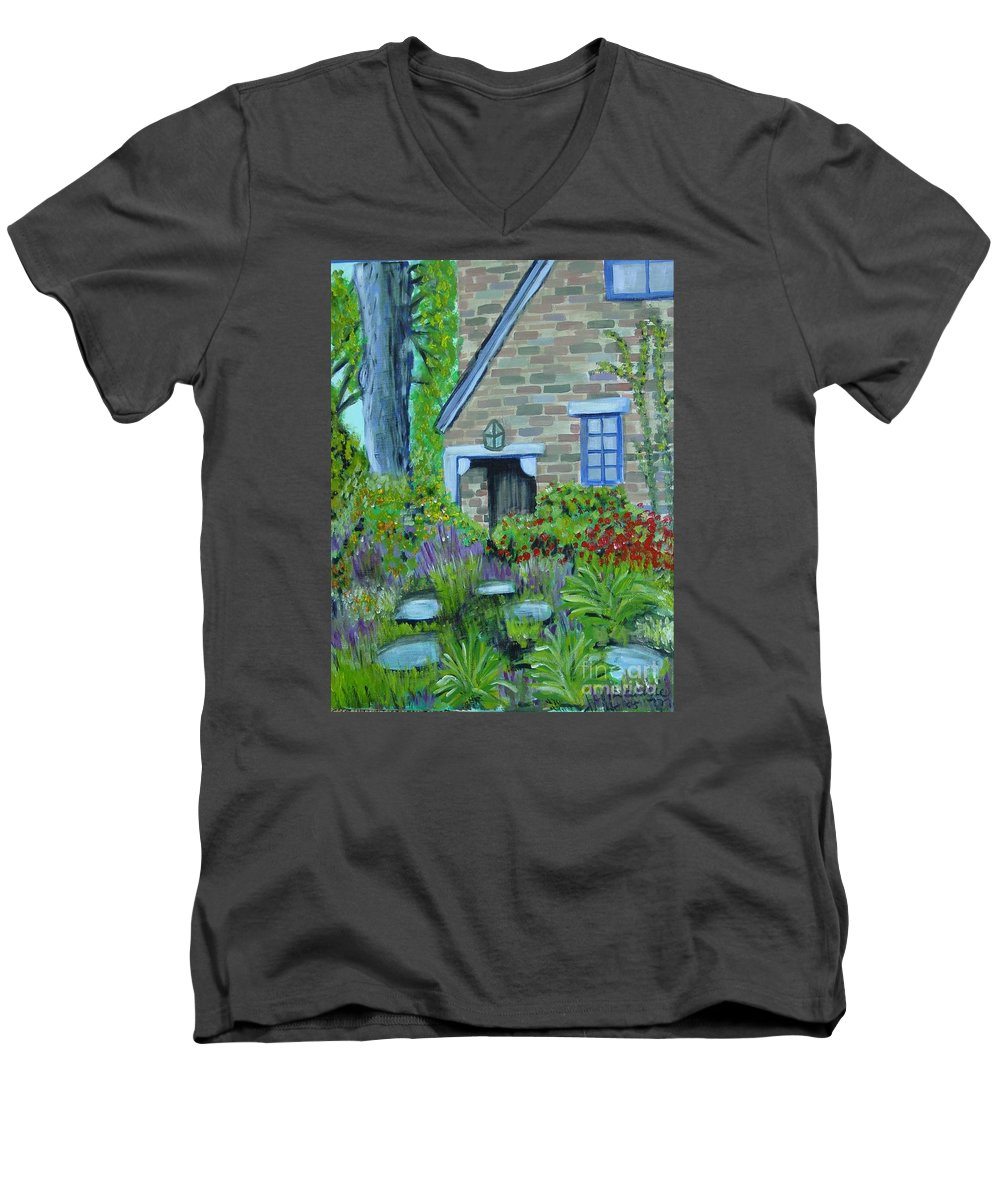 Cottage Men's V-Neck T-Shirt featuring the painting Summer Retreat by Laurie Morgan