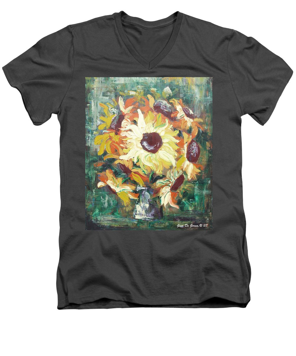Sunflowers Men's V-Neck T-Shirt featuring the painting Sun In A Vase by Gina De Gorna