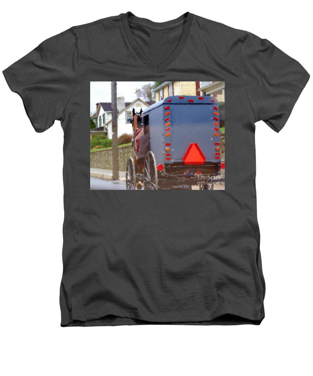 Amish Men's V-Neck T-Shirt featuring the photograph Sunday Courting by Debbi Granruth