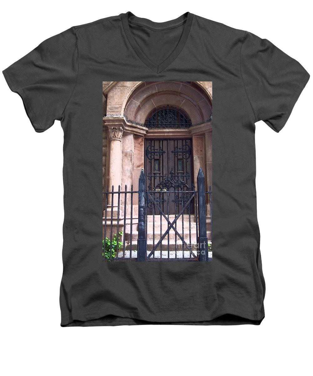 Church Men's V-Neck T-Shirt featuring the photograph Sunday by Debbi Granruth