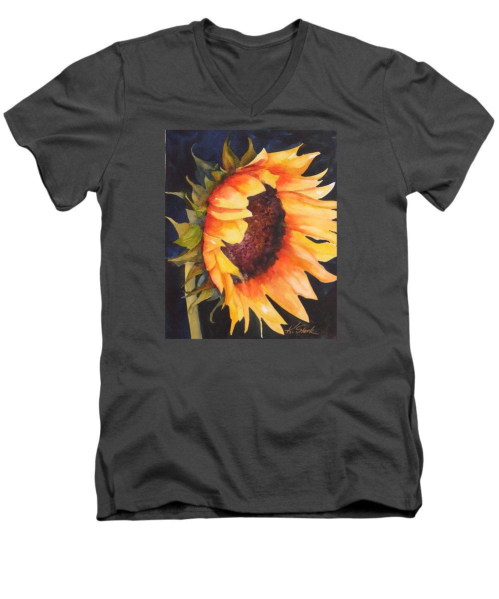 Floral Men's V-Neck T-Shirt featuring the painting Sunflower by Karen Stark