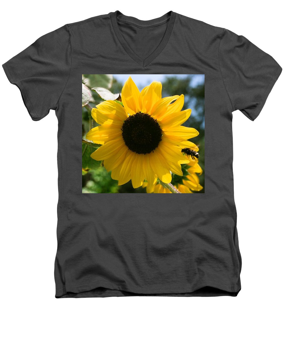 Flower Men's V-Neck T-Shirt featuring the photograph Sunflower With Bee by Dean Triolo