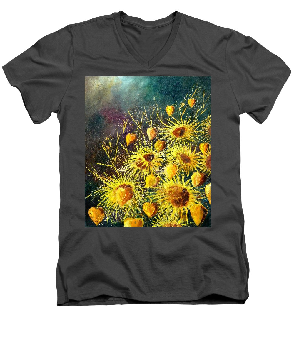 Flowers Men's V-Neck T-Shirt featuring the painting Sunflowers by Pol Ledent