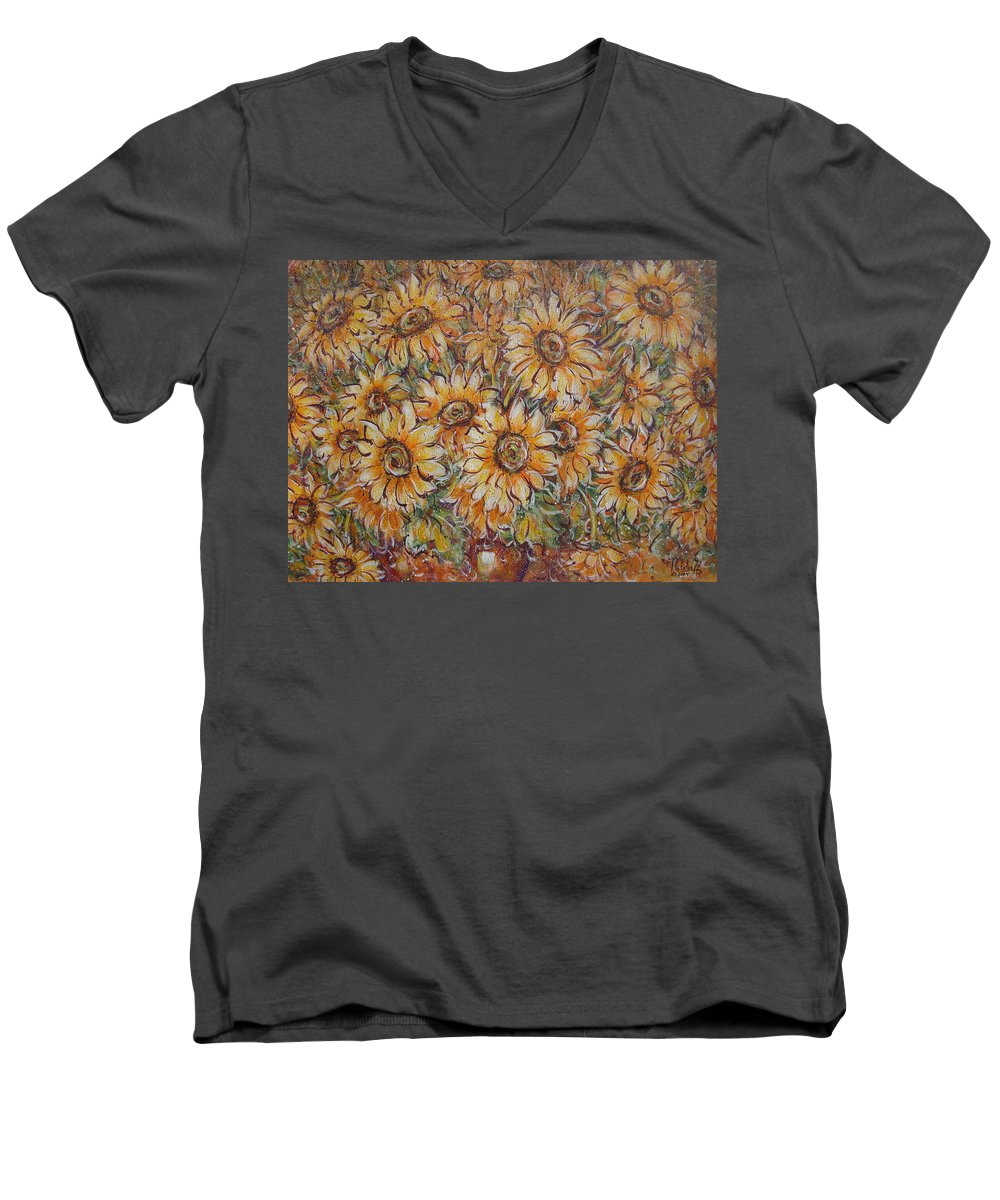 Flowers Men's V-Neck T-Shirt featuring the painting Sunlight Bouquet. by Natalie Holland
