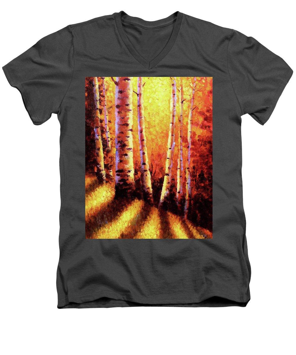 Sunlight Men's V-Neck T-Shirt featuring the painting Sunlight Through The Aspens by David G Paul