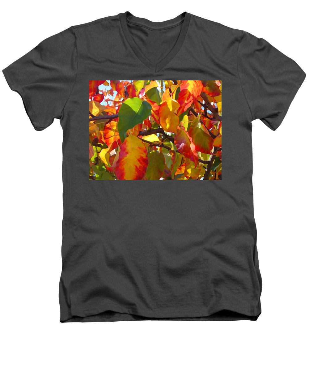 Fall Leaves Men's V-Neck T-Shirt featuring the photograph Sunlit Fall Leaves by Amy Vangsgard