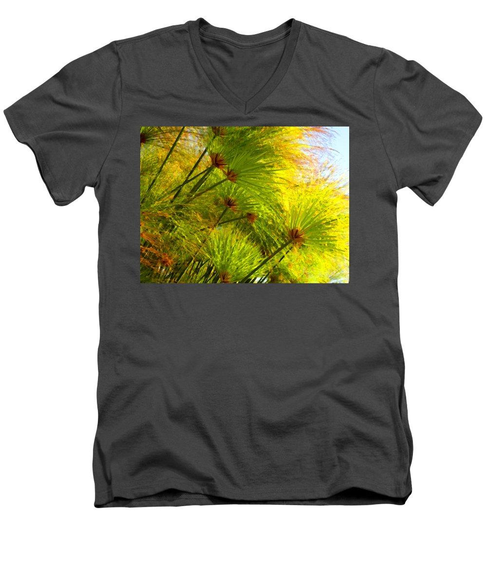 Landscape Men's V-Neck T-Shirt featuring the painting Sunlit Paparus by Amy Vangsgard