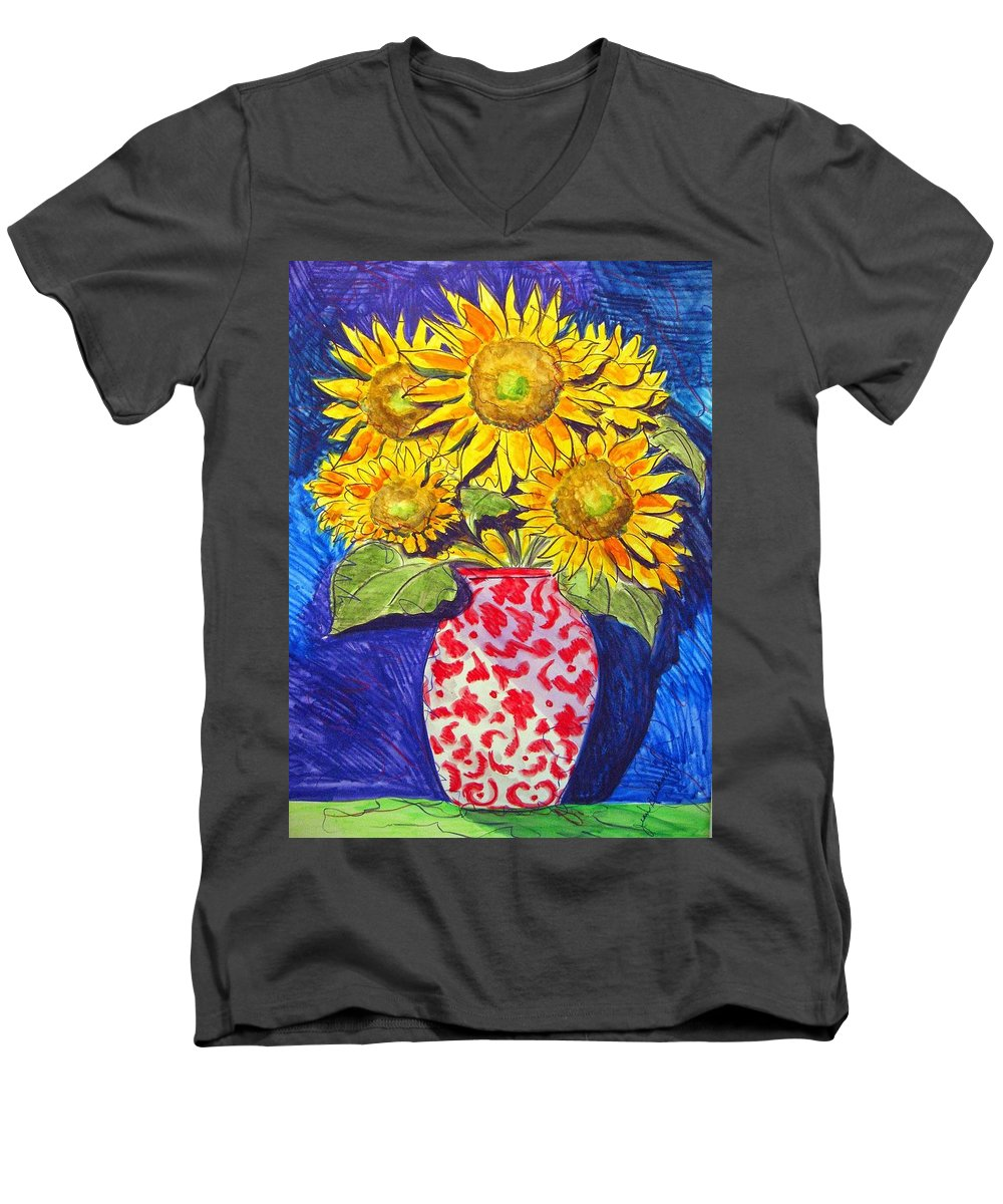 Sunflower Men's V-Neck T-Shirt featuring the painting Sunny Disposition by Jean Blackmer