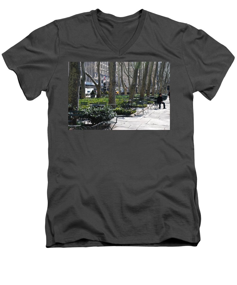 Parks Men's V-Neck T-Shirt featuring the photograph Sunny Morning In The Park by Rob Hans