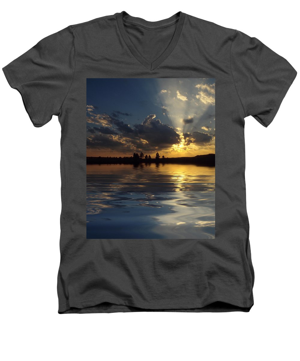 Sunset Men's V-Neck T-Shirt featuring the photograph Sunray Sunset by Jerry McElroy