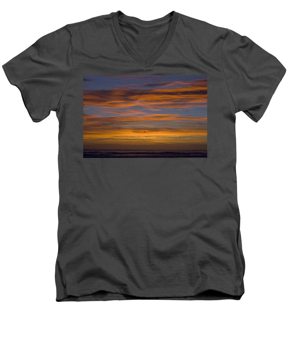Sun Sunrise Cloud Clouds Morning Early Bright Orange Bird Flight Fly Flying Blue Ocean Water Waves Men's V-Neck T-Shirt featuring the photograph Sunrise by Andrei Shliakhau