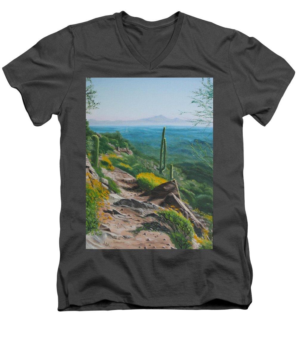 Landscape Men's V-Neck T-Shirt featuring the painting Sunrise Trail by Lea Novak