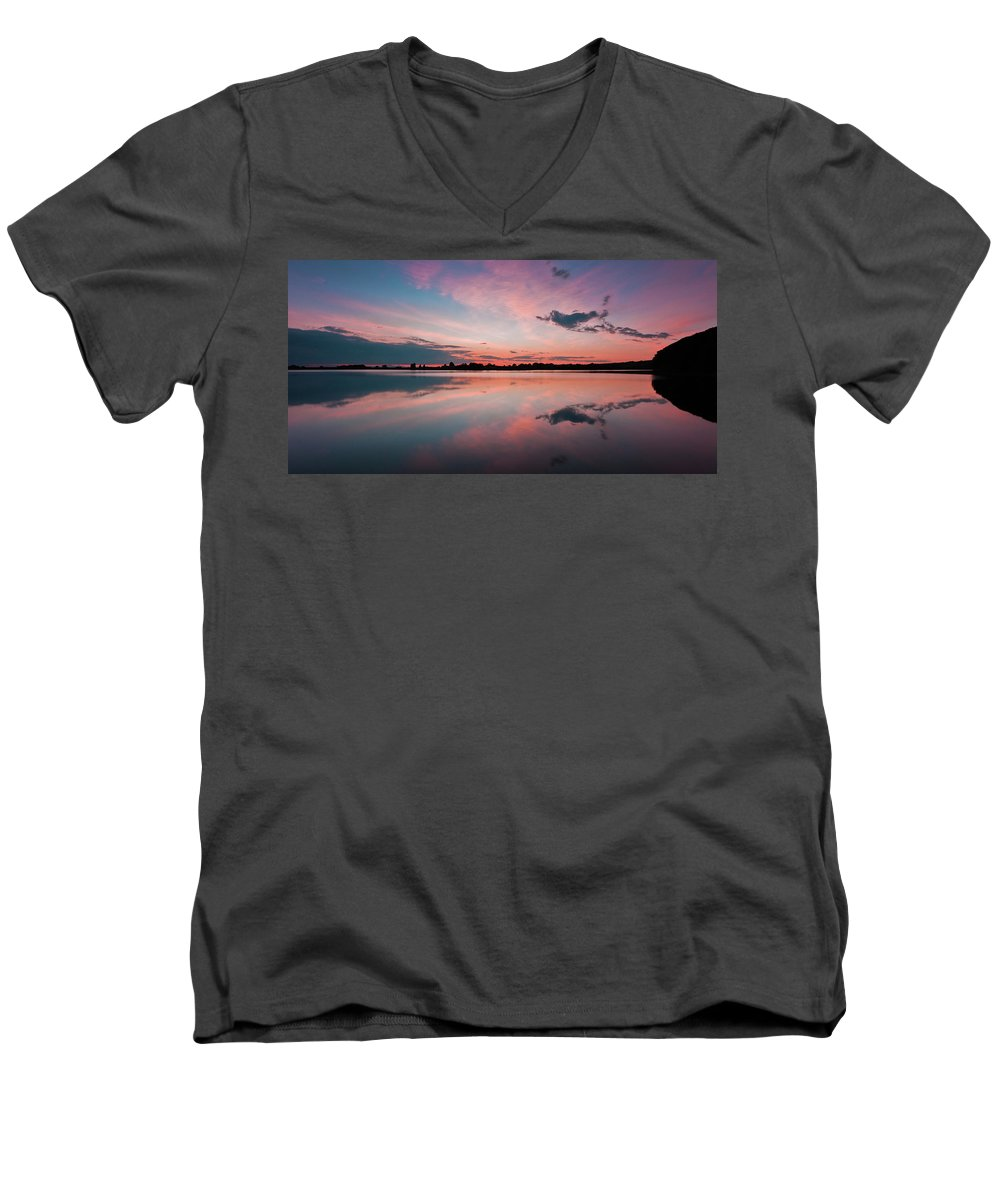 Sunrise Men's V-Neck T-Shirt featuring the photograph Sunset At Anglezarke Reservoir #4, Rivington, Lancashire, North West England by Anthony Lawlor