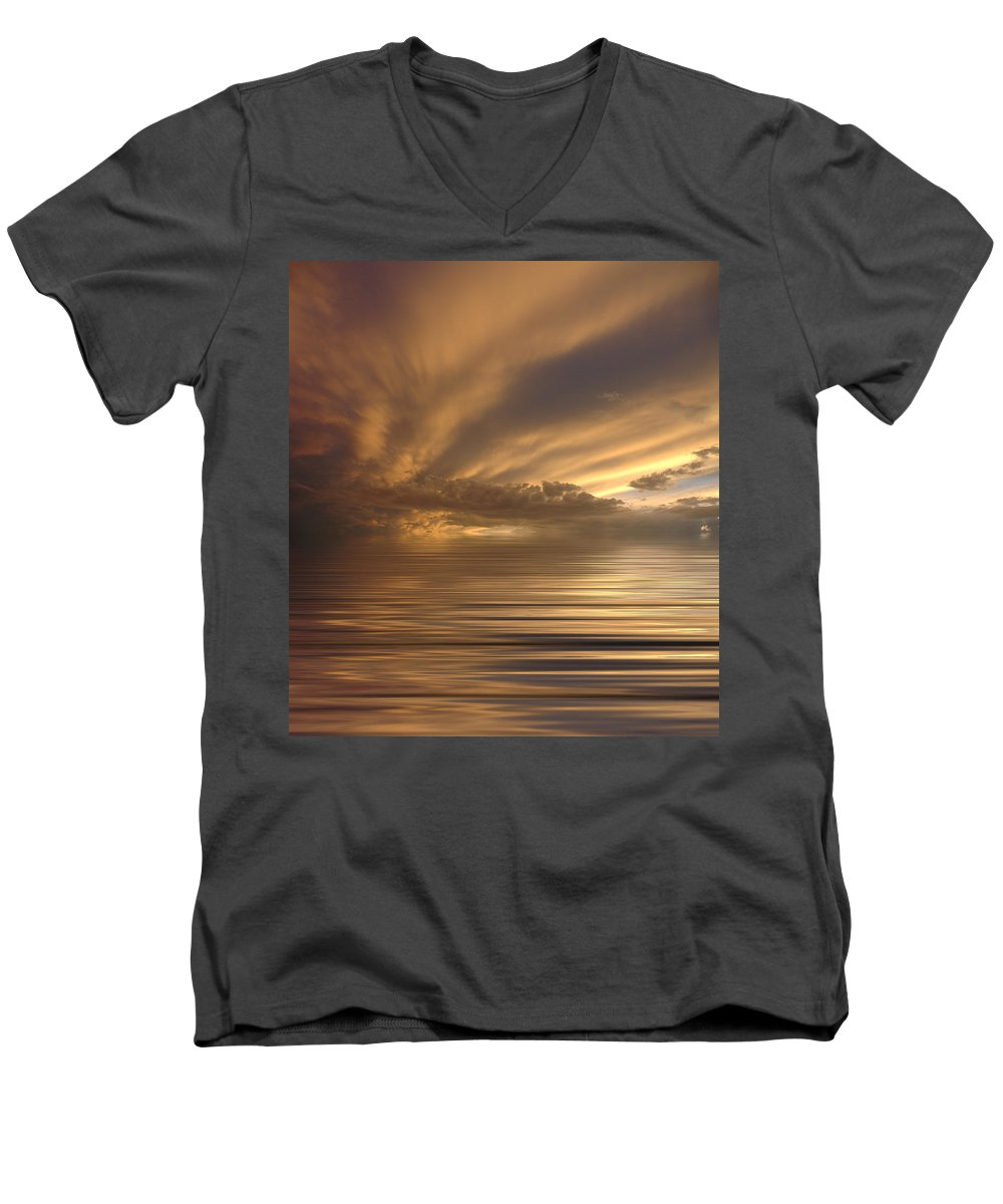Sunset Men's V-Neck T-Shirt featuring the photograph Sunset At Sea by Jerry McElroy