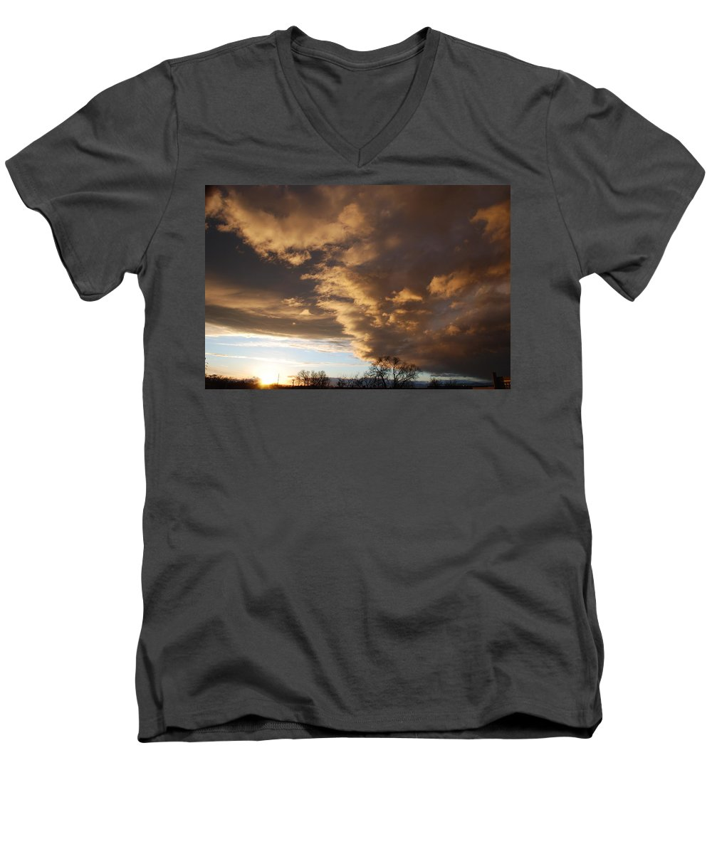 Sunset Men's V-Neck T-Shirt featuring the photograph Sunset At The New Mexico State Capital by Rob Hans