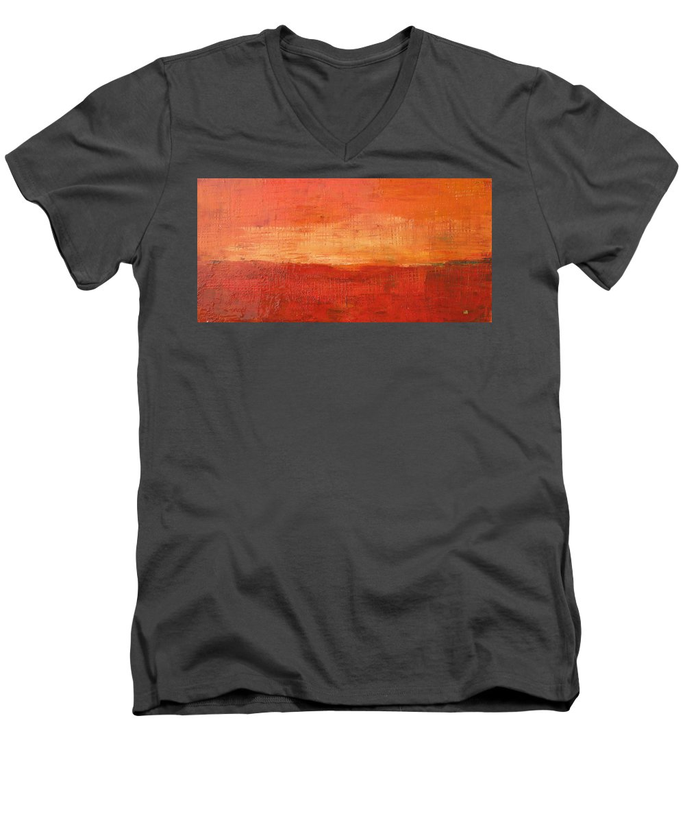 Abstract Men's V-Neck T-Shirt featuring the painting Sunset by Habib Ayat
