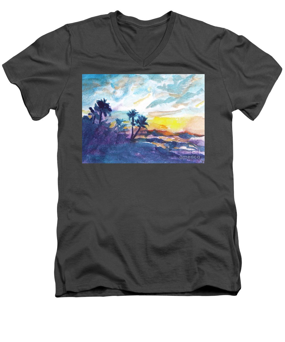 Landscape Men's V-Neck T-Shirt featuring the painting Sunset In Hawaii by Jan Bennicoff