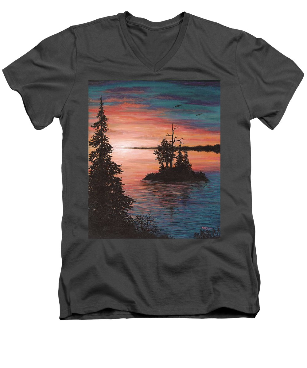 Sunset Men's V-Neck T-Shirt featuring the painting Sunset Island by Roz Eve