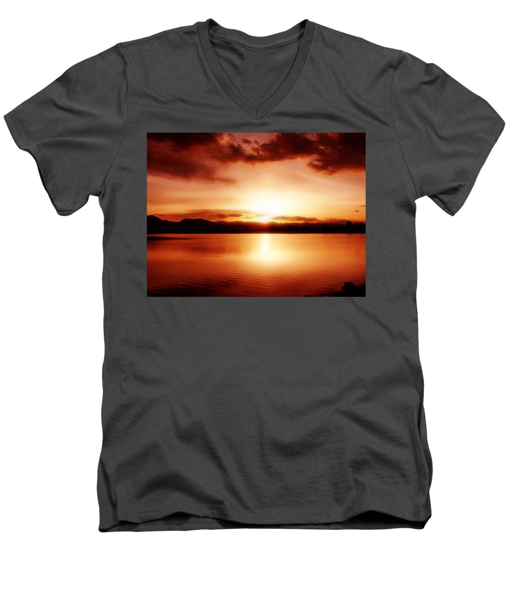 Lake Men's V-Neck T-Shirt featuring the photograph Sunset by Marilyn Hunt