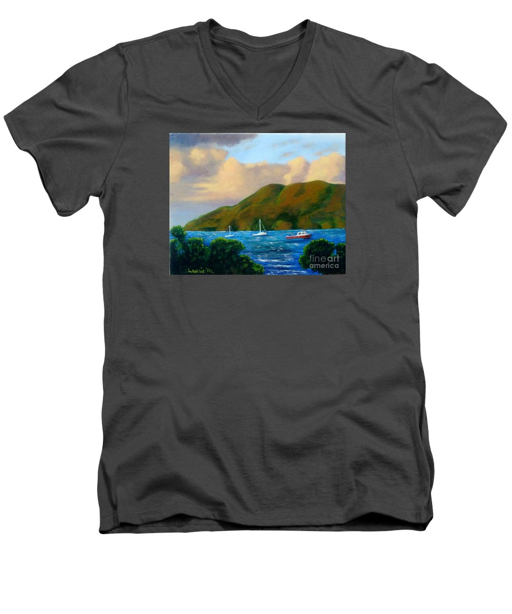 Sunset Men's V-Neck T-Shirt featuring the painting Sunset On Cruz Bay by Laurie Morgan