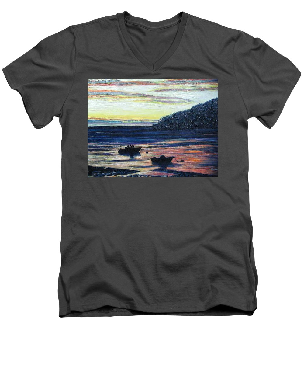 Maine Men's V-Neck T-Shirt featuring the painting Sunset On Maine Coast by Richard Nowak