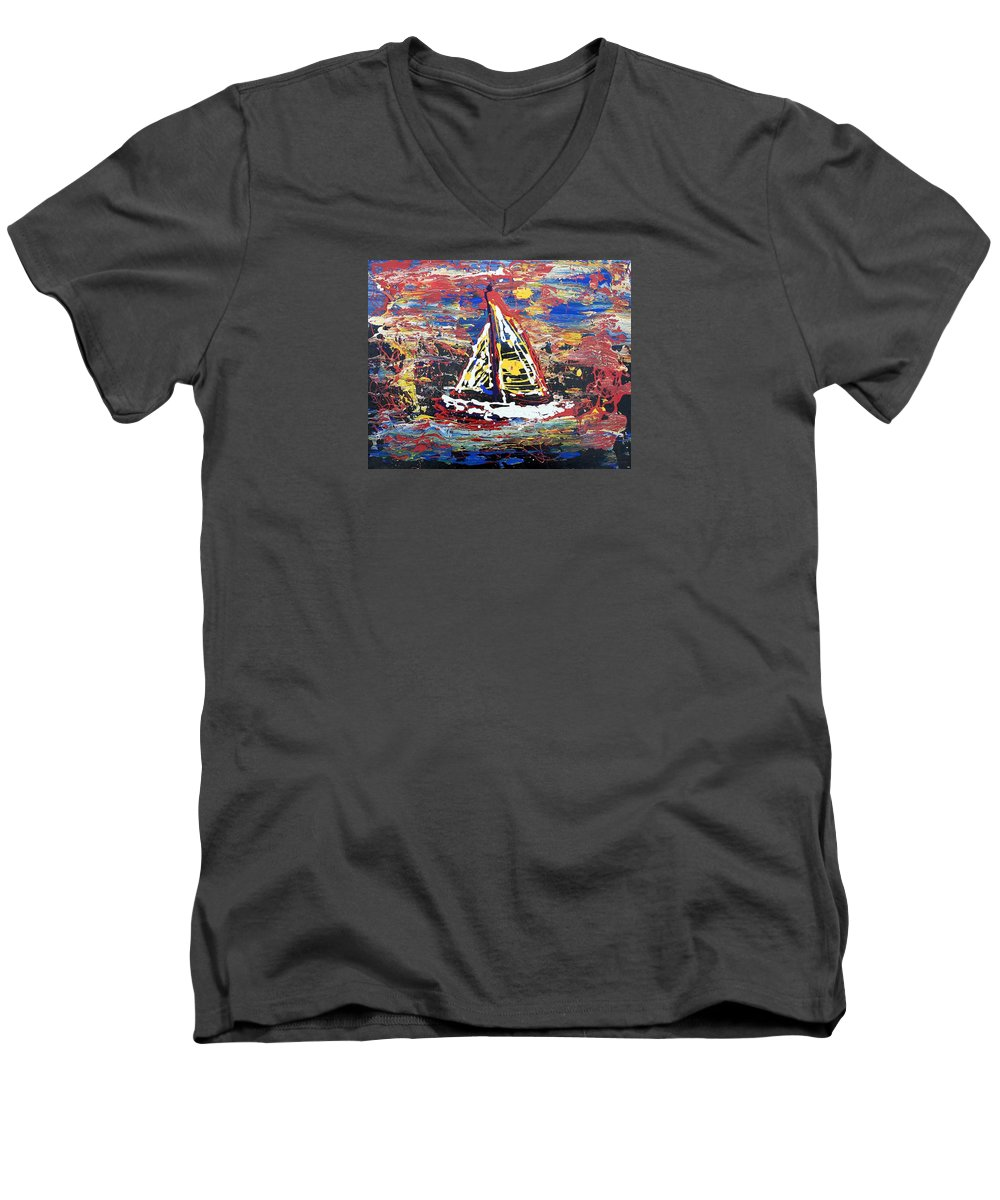 Abstract Art Men's V-Neck T-Shirt featuring the painting Sunset On The Lake by J R Seymour
