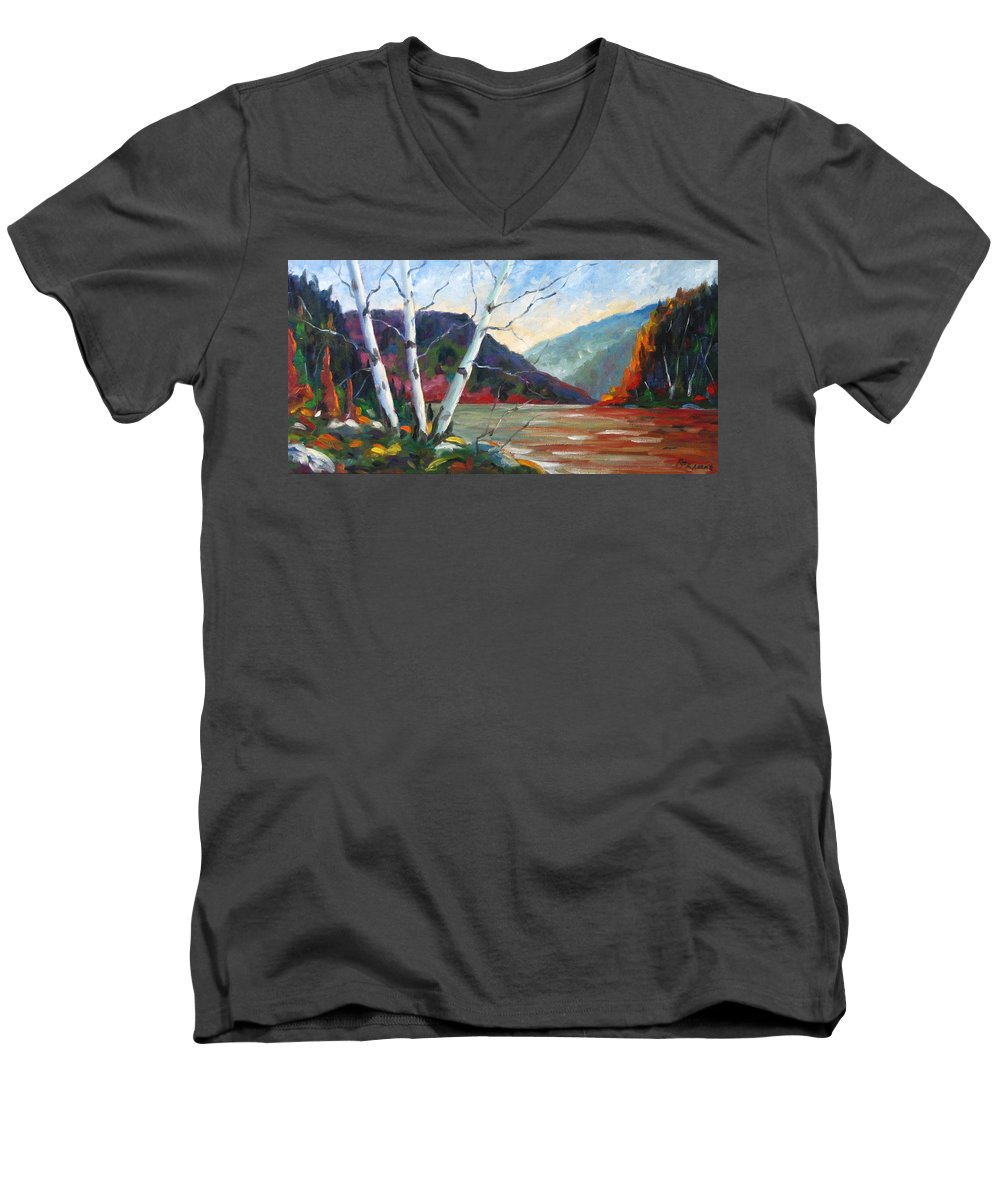 Landscape; Landscapes/scenic; Birches;sun;lake;pranke Men's V-Neck T-Shirt featuring the painting Sunset On The Lake by Richard T Pranke