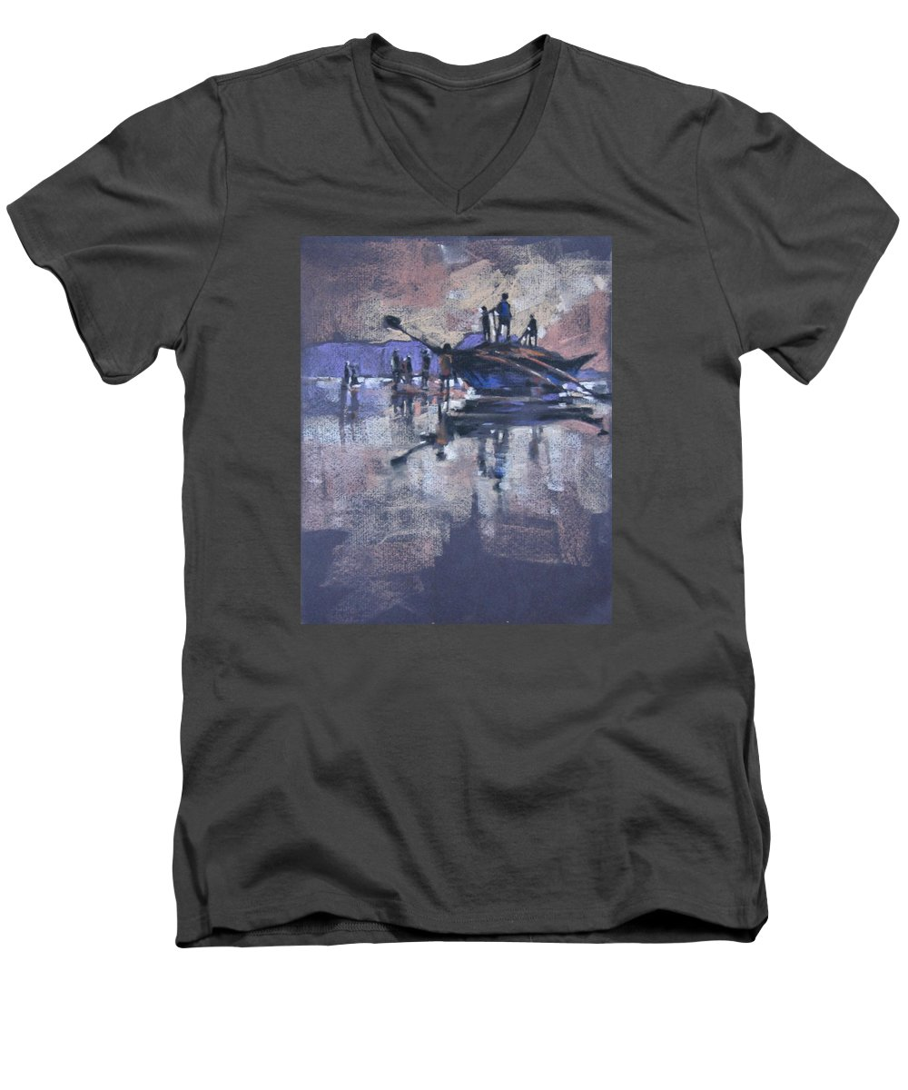 Beach Men's V-Neck T-Shirt featuring the painting Sunset by Snehal Page