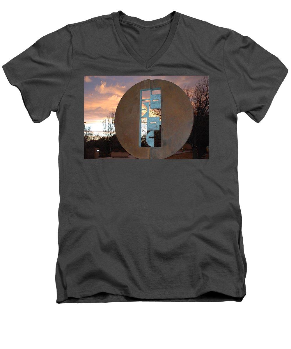 Pop Art Men's V-Neck T-Shirt featuring the photograph Sunset Thru Art by Rob Hans