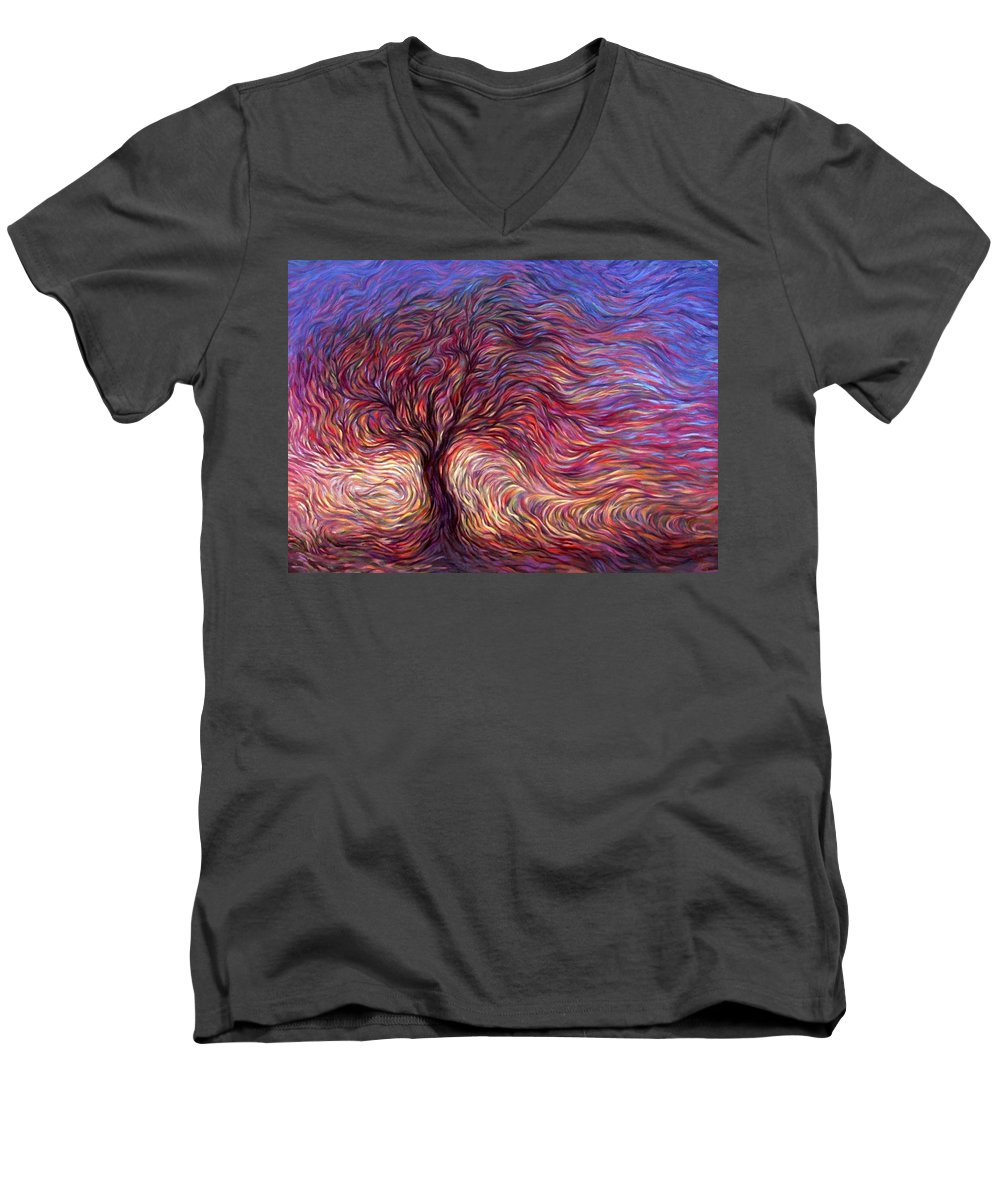 Tree Men's V-Neck T-Shirt featuring the painting Sunset Tree by Hans Droog