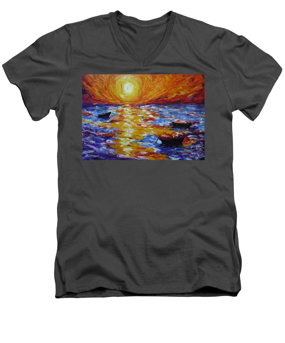 Landscape Men's V-Neck T-Shirt featuring the painting Sunset With Three Boats by Ericka Herazo