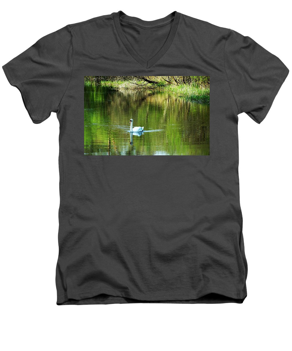 Irish Men's V-Neck T-Shirt featuring the photograph Swan On The Cong River Cong Ireland by Teresa Mucha