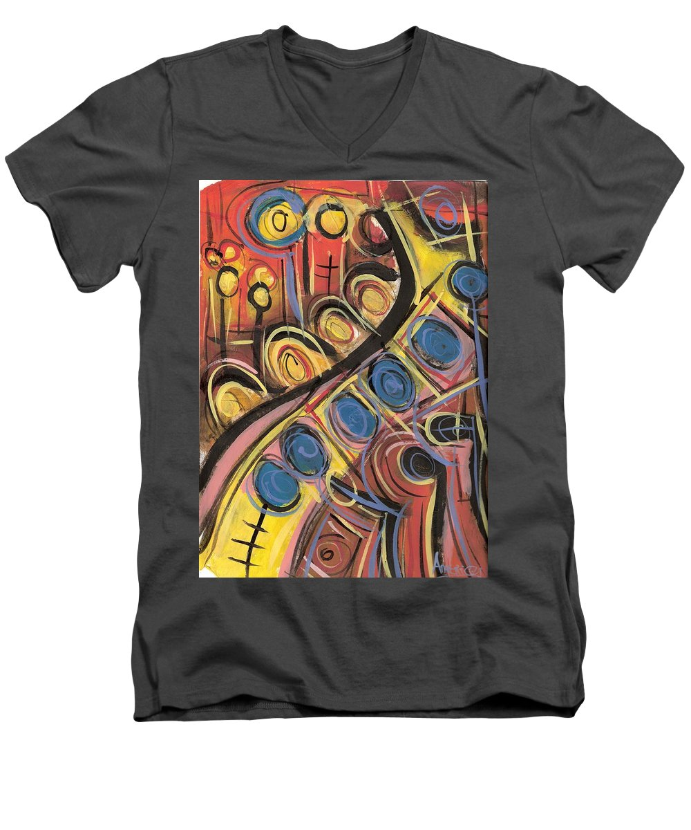 Abstract Painting Men's V-Neck T-Shirt featuring the painting Sweet Music by Americo Salazar