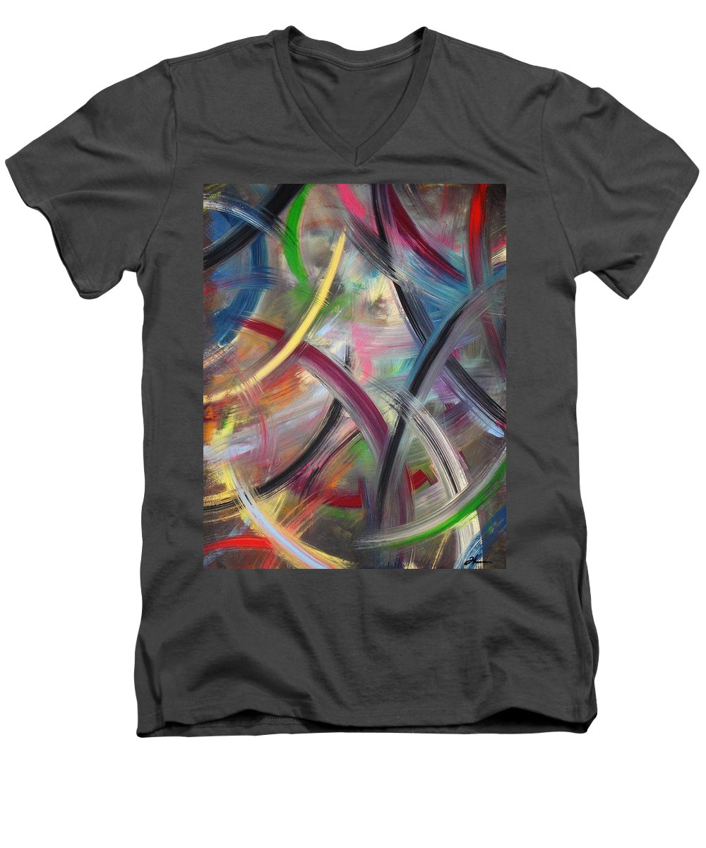 Acrylic Men's V-Neck T-Shirt featuring the painting Swish by Todd Hoover
