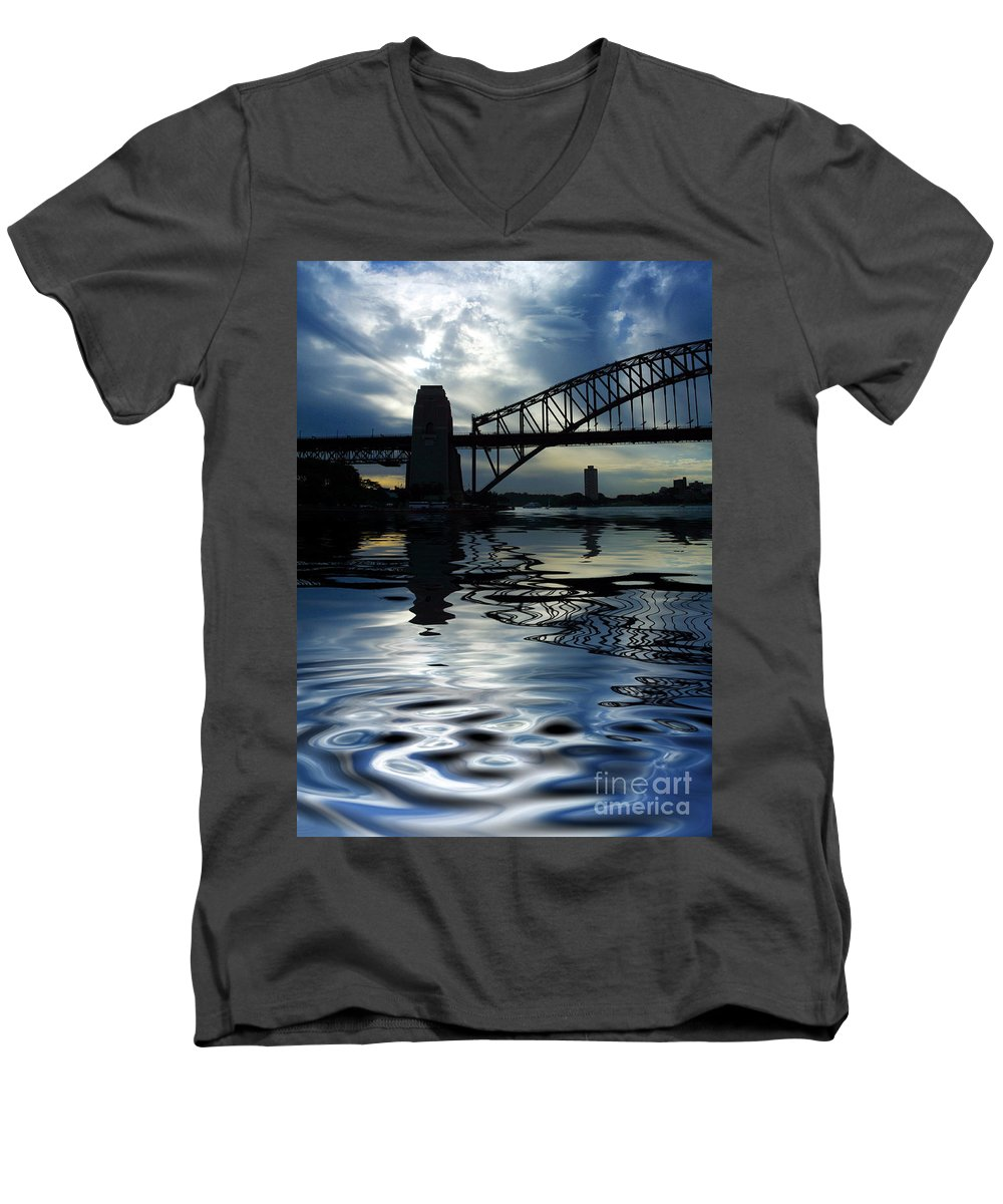 Sydney Harbour Australia Bridge Reflection Men's V-Neck T-Shirt featuring the photograph Sydney Harbour Bridge Reflection by Avalon Fine Art Photography