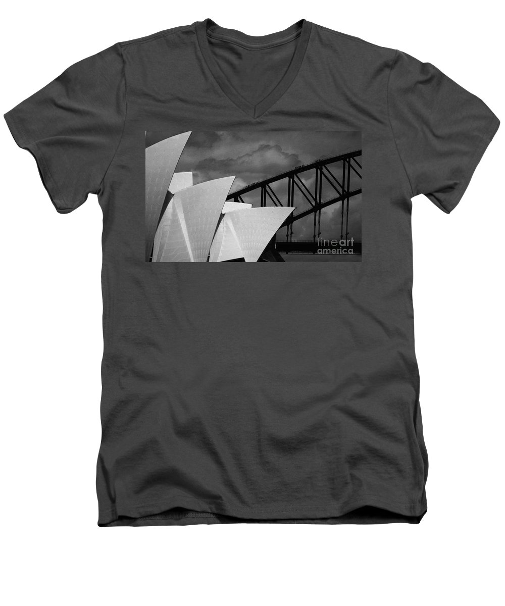 Sydney Opera House Men's V-Neck T-Shirt featuring the photograph Sydney Opera House With Harbour Bridge by Sheila Smart Fine Art Photography