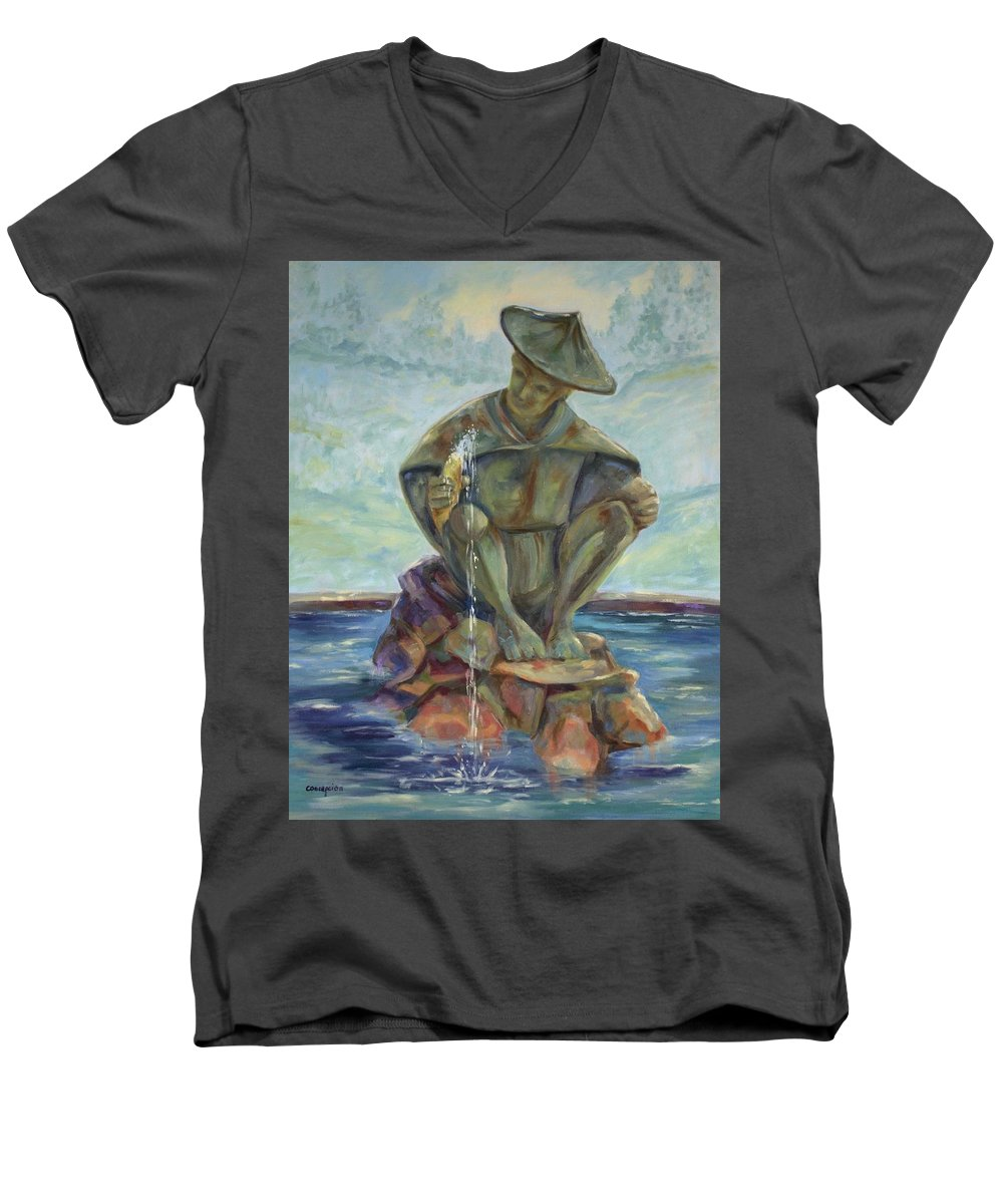 Landscape Men's V-Neck T-Shirt featuring the painting Taipei Fountain by Ginger Concepcion