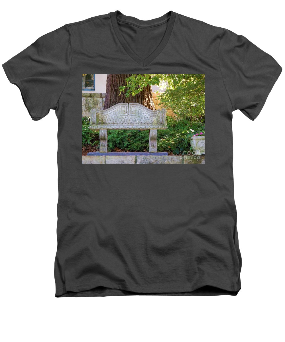 Bench Men's V-Neck T-Shirt featuring the photograph Take A Break by Debbi Granruth