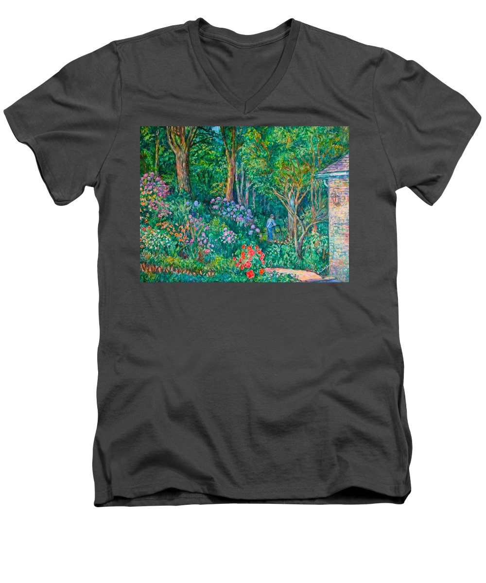 Suburban Paintings Men's V-Neck T-Shirt featuring the painting Taking A Break by Kendall Kessler
