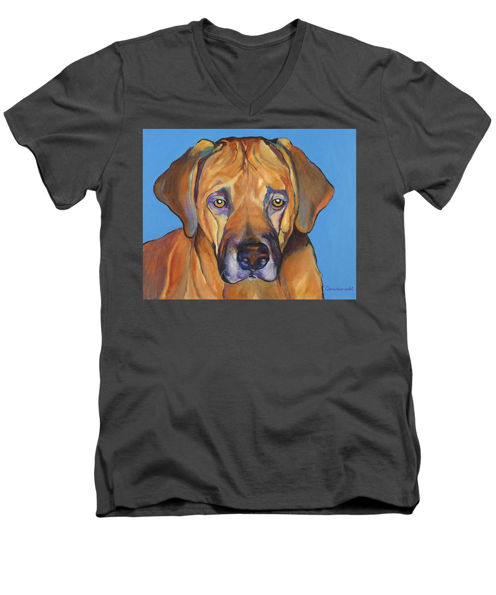 Rhodesian Ridgeback Dog Ridgeback African Colorful Orange Gold Yellow Red Men's V-Neck T-Shirt featuring the painting Talen by Pat Saunders-White