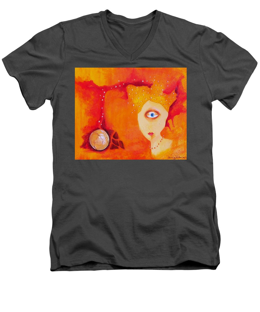 Tangerine Orange Eyes Woman Pearls Thoughts Life Egg Men's V-Neck T-Shirt featuring the painting Tangerine Dream by Veronica Jackson