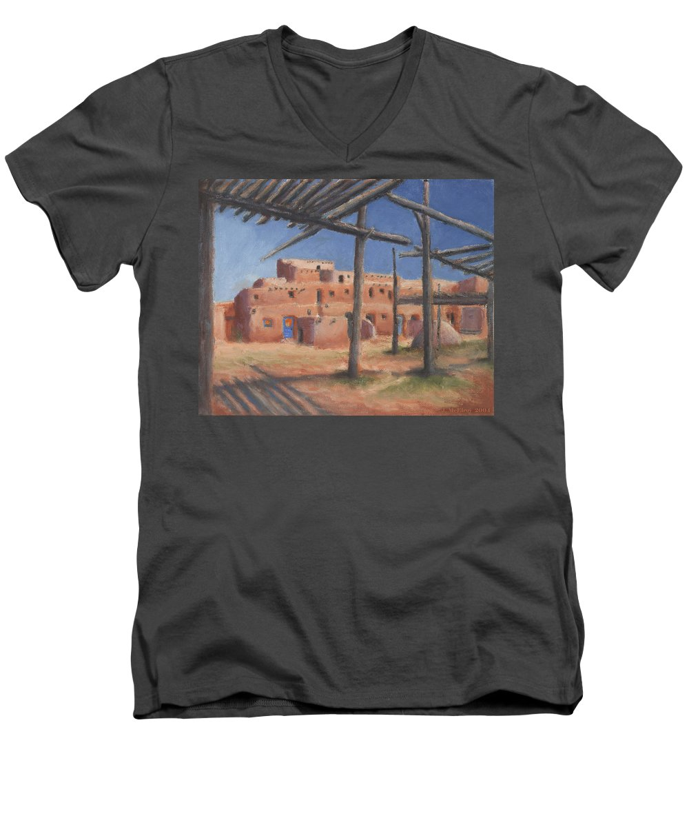 Taos Men's V-Neck T-Shirt featuring the painting Taos Pueblo by Jerry McElroy