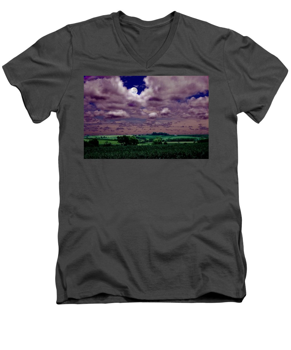 Landscape Men's V-Neck T-Shirt featuring the photograph Tarkio Moon by Steve Karol
