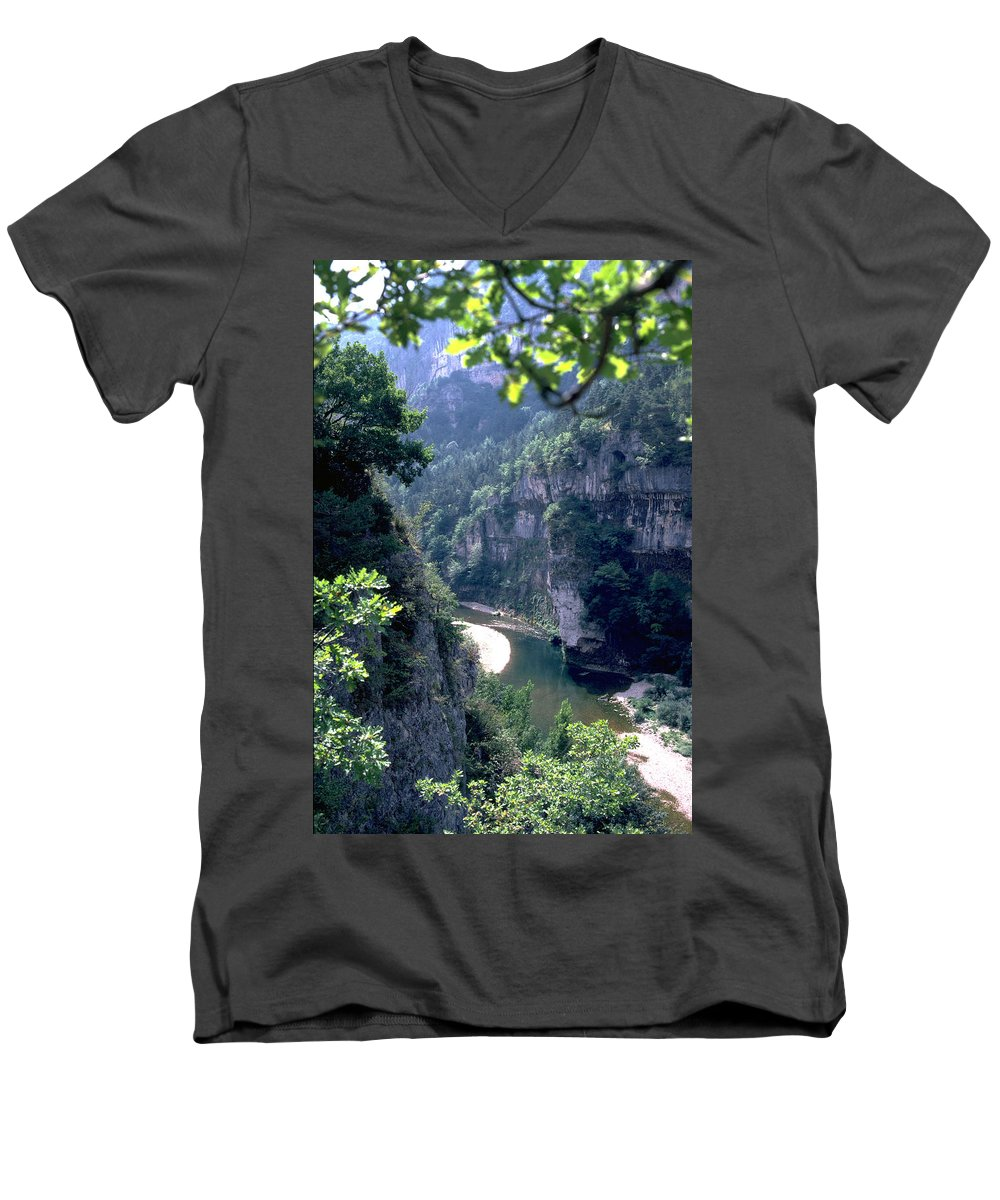 France Men's V-Neck T-Shirt featuring the photograph Tarn by Flavia Westerwelle