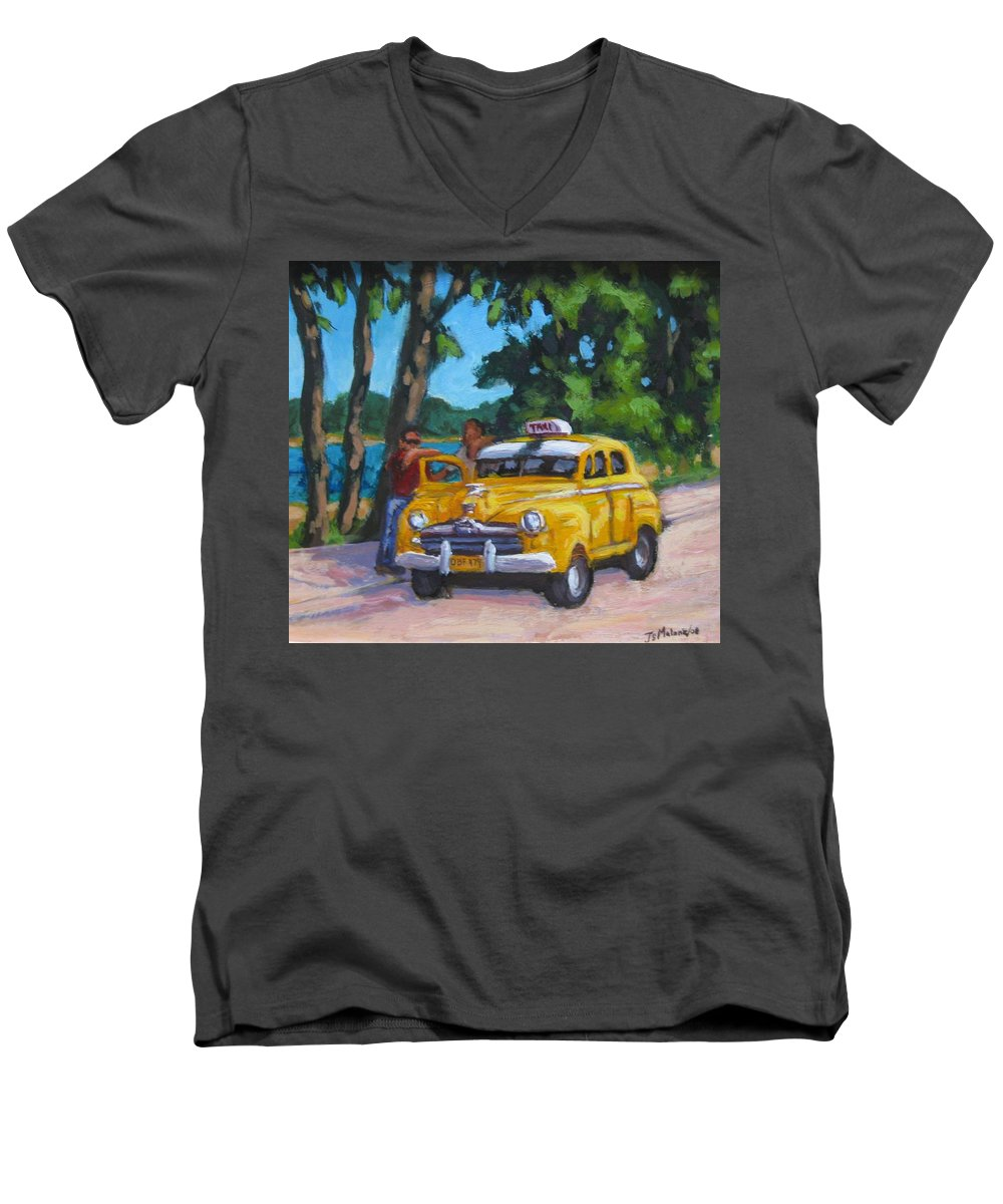 Old Cars Men's V-Neck T-Shirt featuring the painting Taxi Y Amigos by John Malone