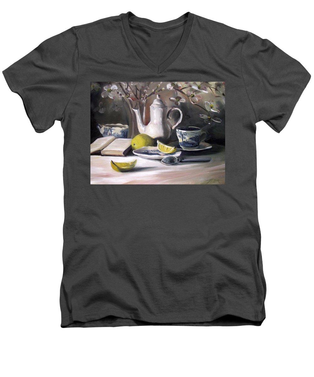 Lemon Men's V-Neck T-Shirt featuring the painting Tea With Lemon by Nancy Griswold