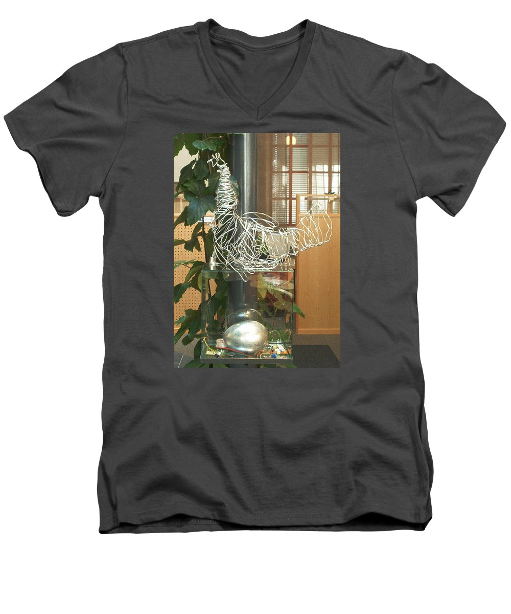 Men's V-Neck T-Shirt featuring the sculpture Techno Hen by Jarle Rosseland